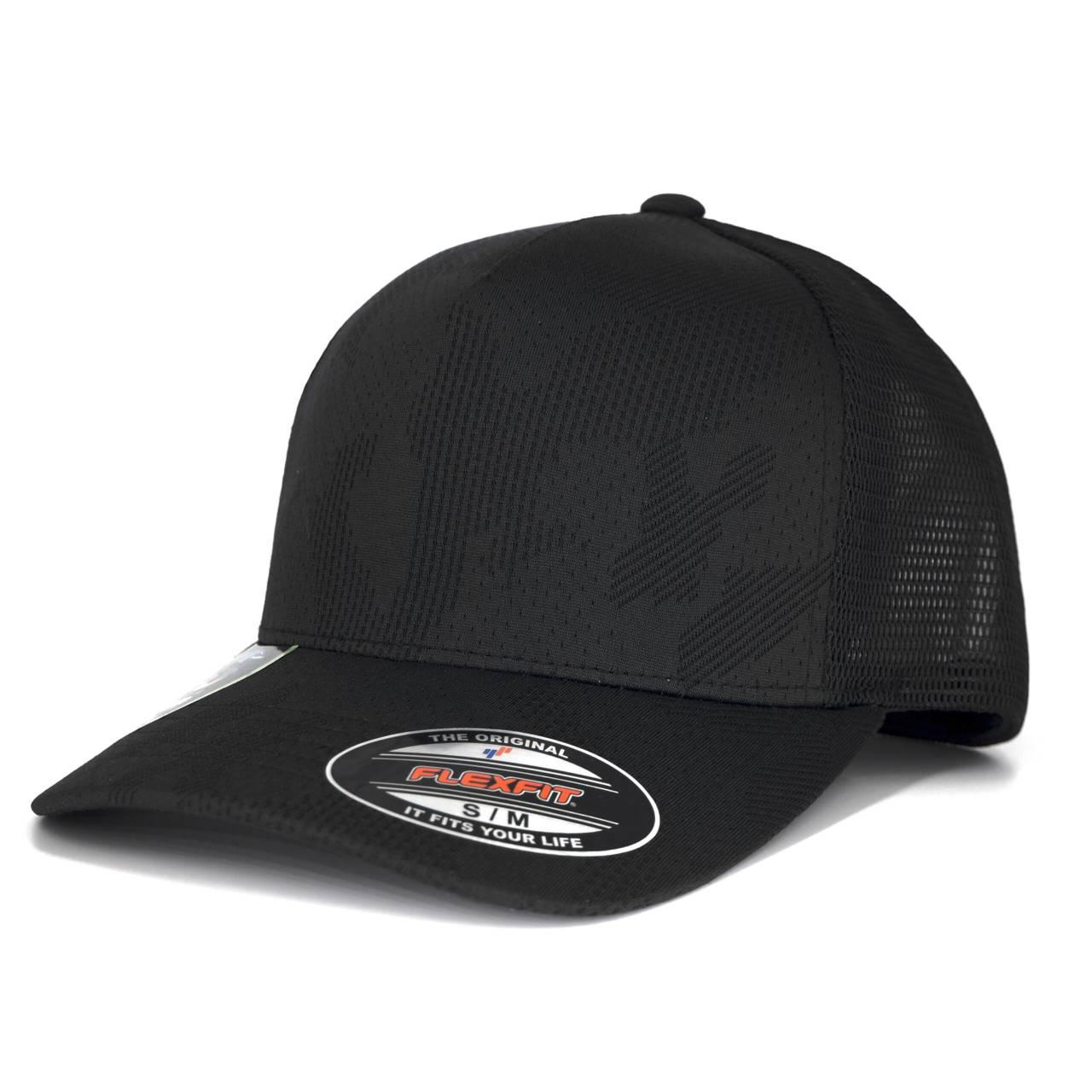 6277JC-00007-0044 FLEXFIT JAQUARD CAMO STRETCH BLACK CAP