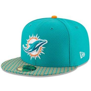 11462078 59FIFTY NFL MIAMI DOLPHINS SIDELINE FITTED CAP