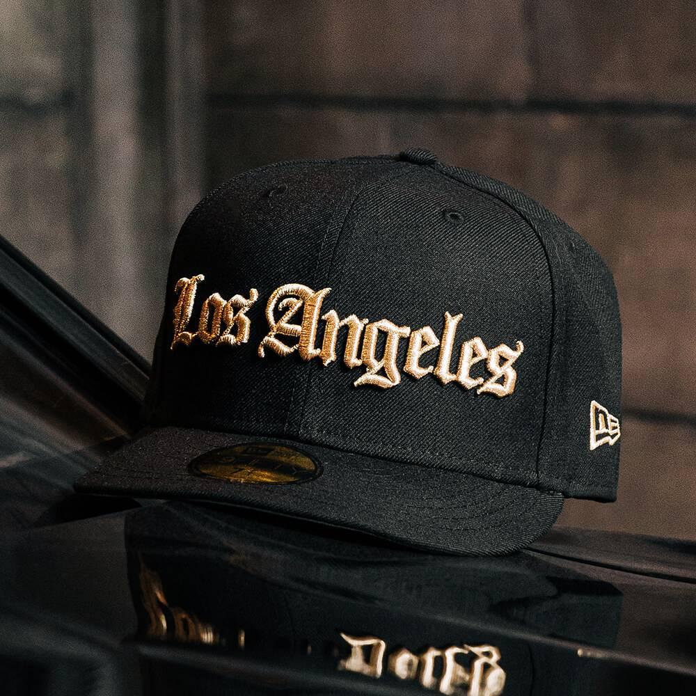 LIMITED 59FIFTY MLB LOS ANGELES DODGERS GOTHIC SCRIPT BLACK GOLD/GREY UNDERBRIM