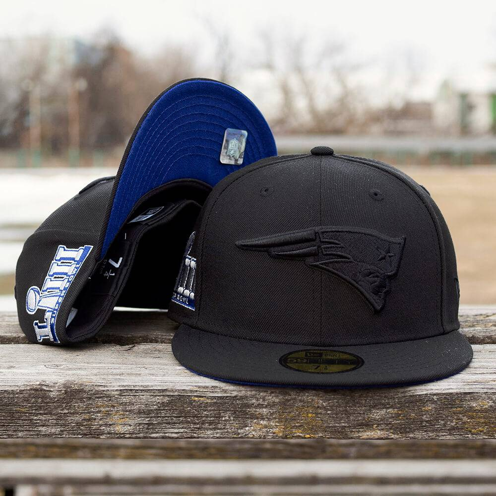 LIMITED 59FIFTY NFL NEW ENGLAND PATRIOTS SB 2019 BLACK/DARK ROYAL UNDERBRIM