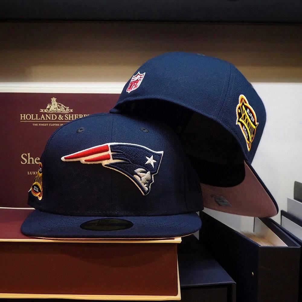 EXCLUSIVE 59FIFTY NFL NEW ENGLAND PATRIOTS SBXXXVIII BLUE/PINK UNDERBRIM
