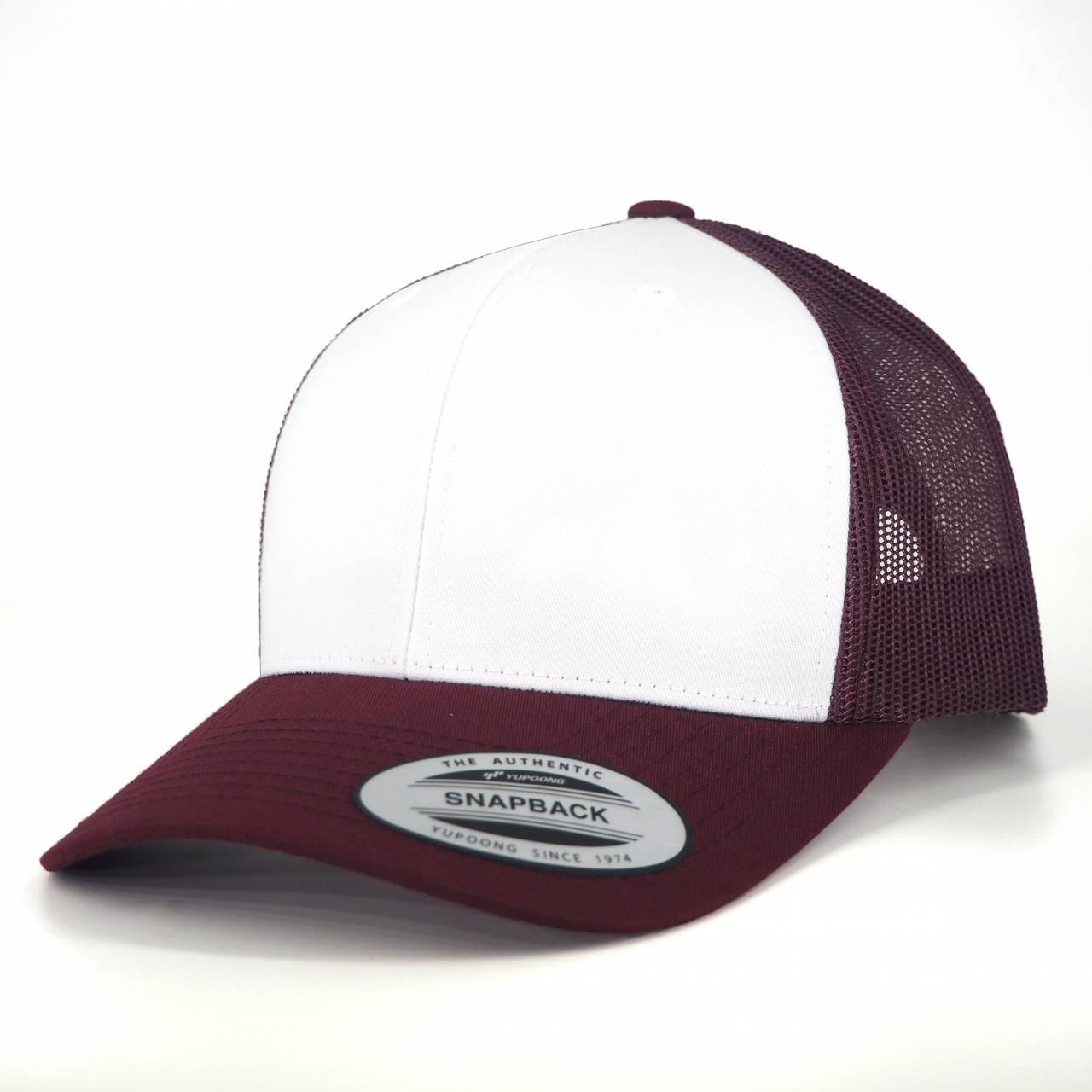 6606CF-01131-0 050 RETRO TRUCKER COLORED FRONT MAROON/WHITE CAP