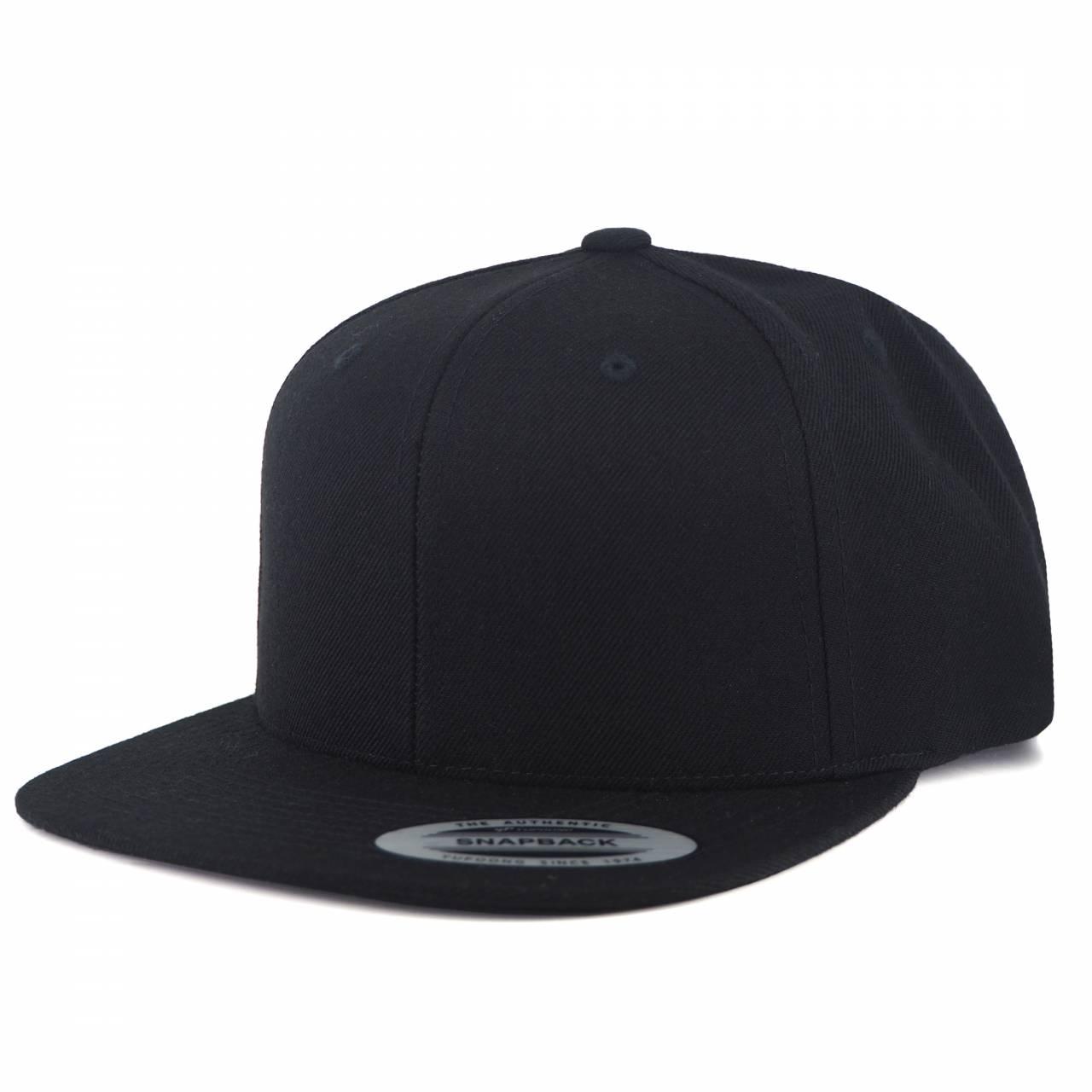6089M-00017-00 50 CLASSIC SNAPBACK BLACK BLANK CAP