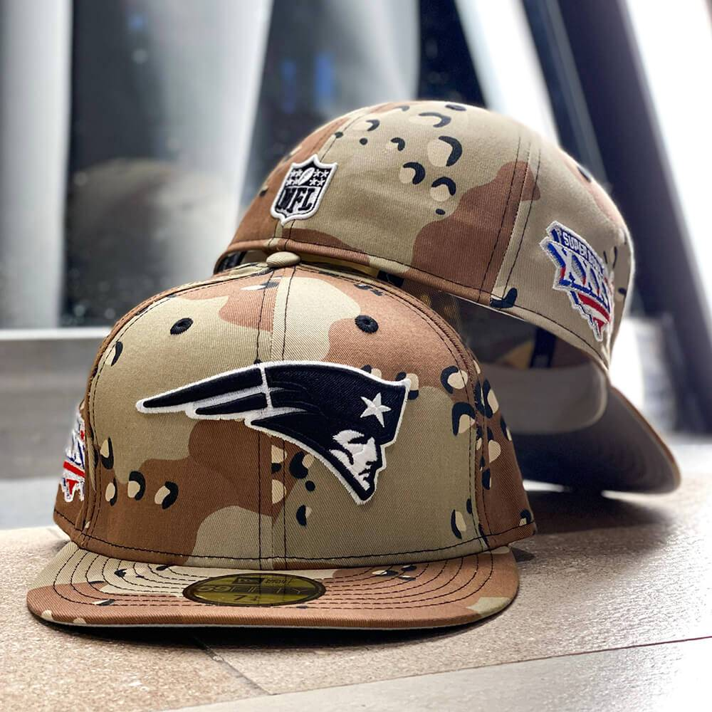 EXCLUSIVE 59FIFTY NFL NEW ENGLAND PATRIOTS SBXXXVI DESERT CAMO/GREY UNDERBRIM