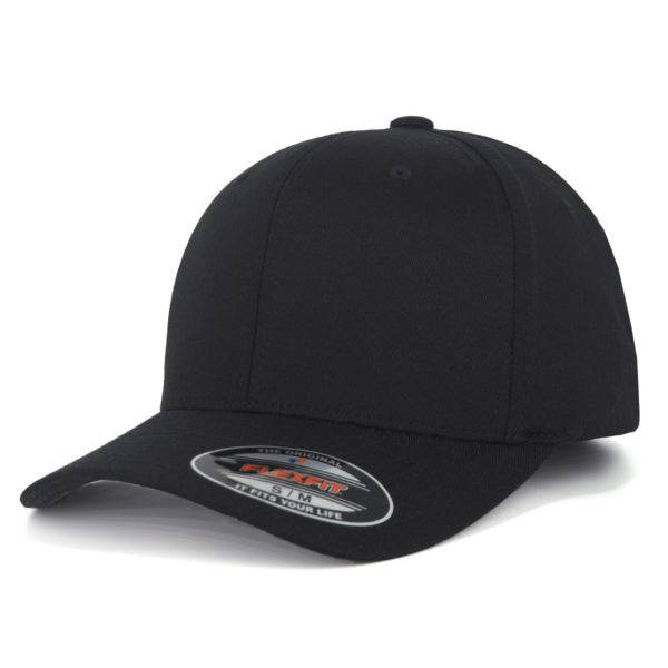 6277-00017-0044 FLEXFIT WOOLY COMBED BLACK/BLACL BLANK CAP